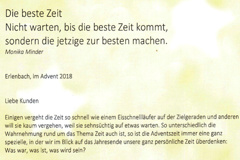 Weihnachtsbrief Garage Müller Erlenbach