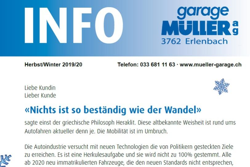 Garage Mueller Info Heft Herbst / Winter PDF