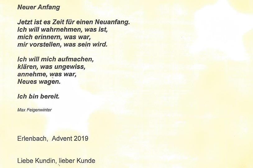 Weihnachtsbrief Garage Müller Erlenbach 2019
