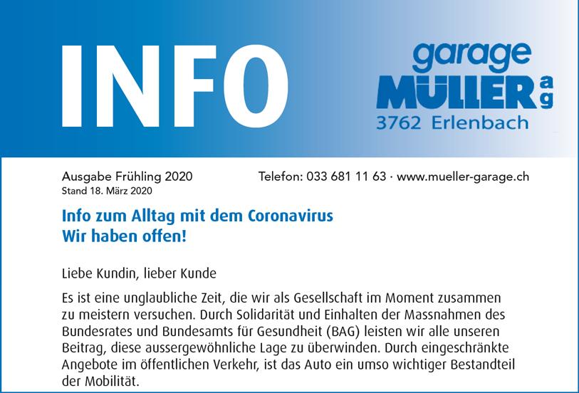 Garage Mueller Info Heft Frühling 2020 als PDF