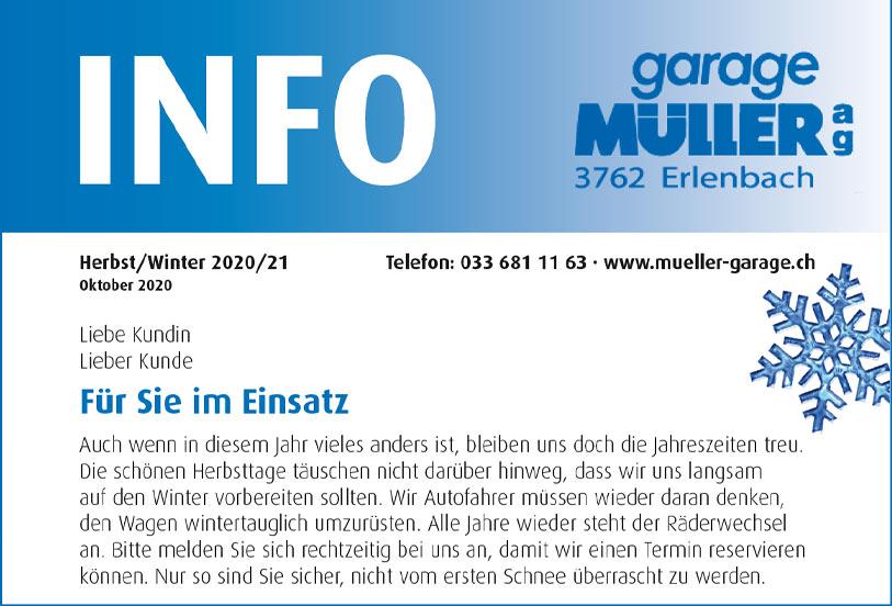 Garage Mueller Info Heft Herbst/Winter 2020 als PDF