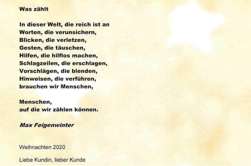 Weihnachtsbrief Garage Müller Erlenbach 2020