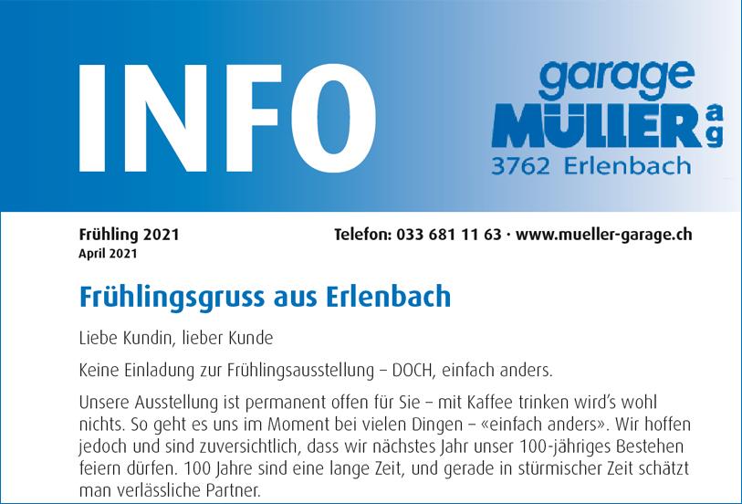 Garage Mueller Info Heft Frühling 2021 als PDF