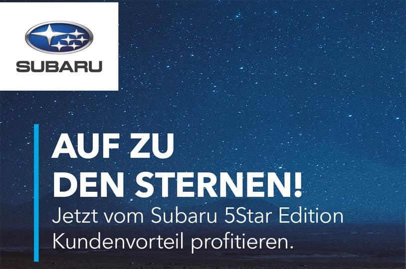 SUBARU 5Star Wochen mit Kundenvorteilen über 5'000.-